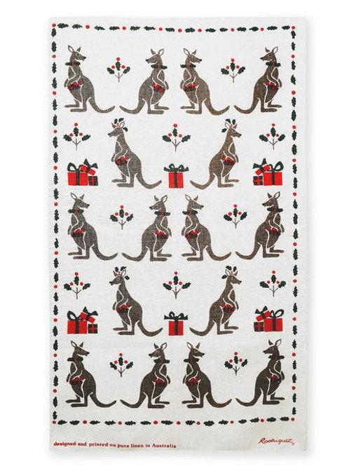 Christmas Kangaroo Linen Teatowel