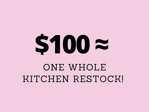 $100 Food Relief Donation - tax deductible & 0% GST