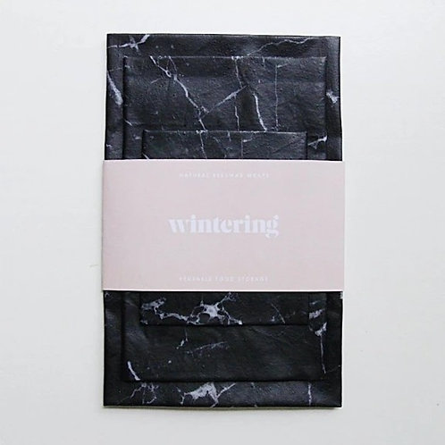 Wintering Beeswax Wrap, Black marble