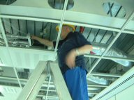 Dave in roof at Lloyds Birmingham