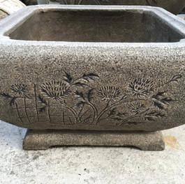 古體 雕刻 四方水缸