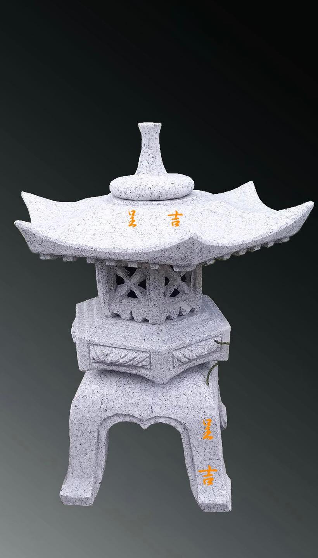 日式石燈 六角雪