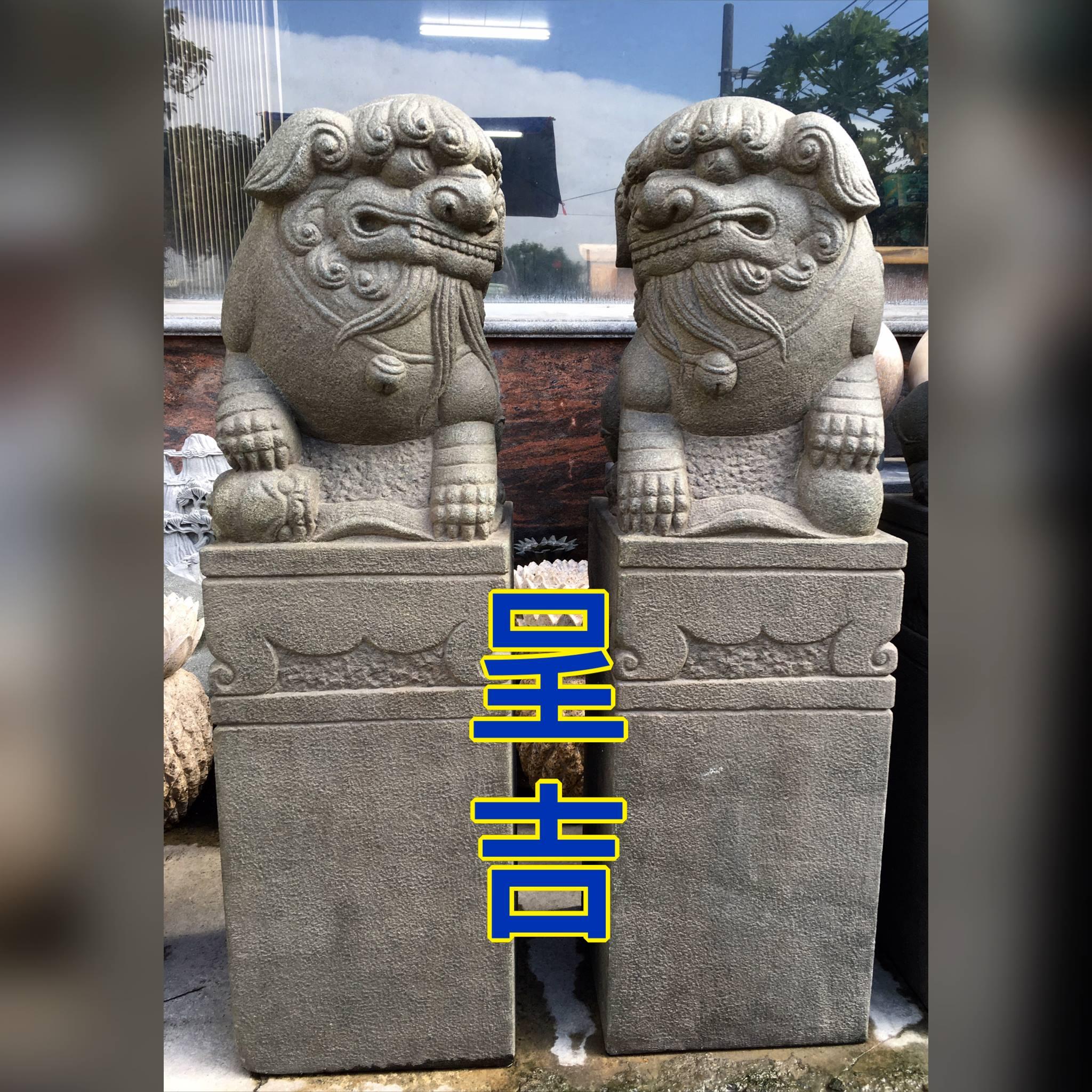 古體 石獅柱 精緻雕工