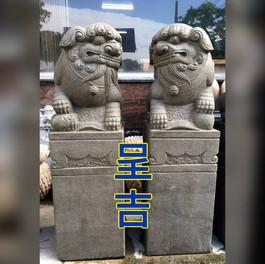 古體 石獅柱 精緻雕刻