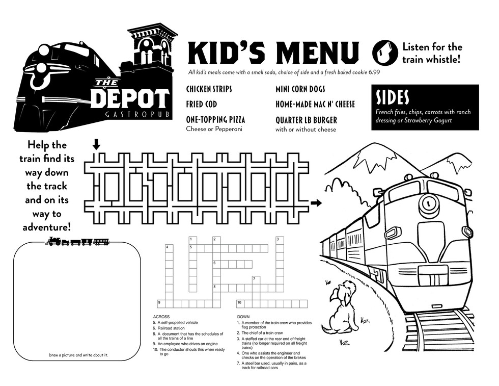 The Depot Kid's Menu