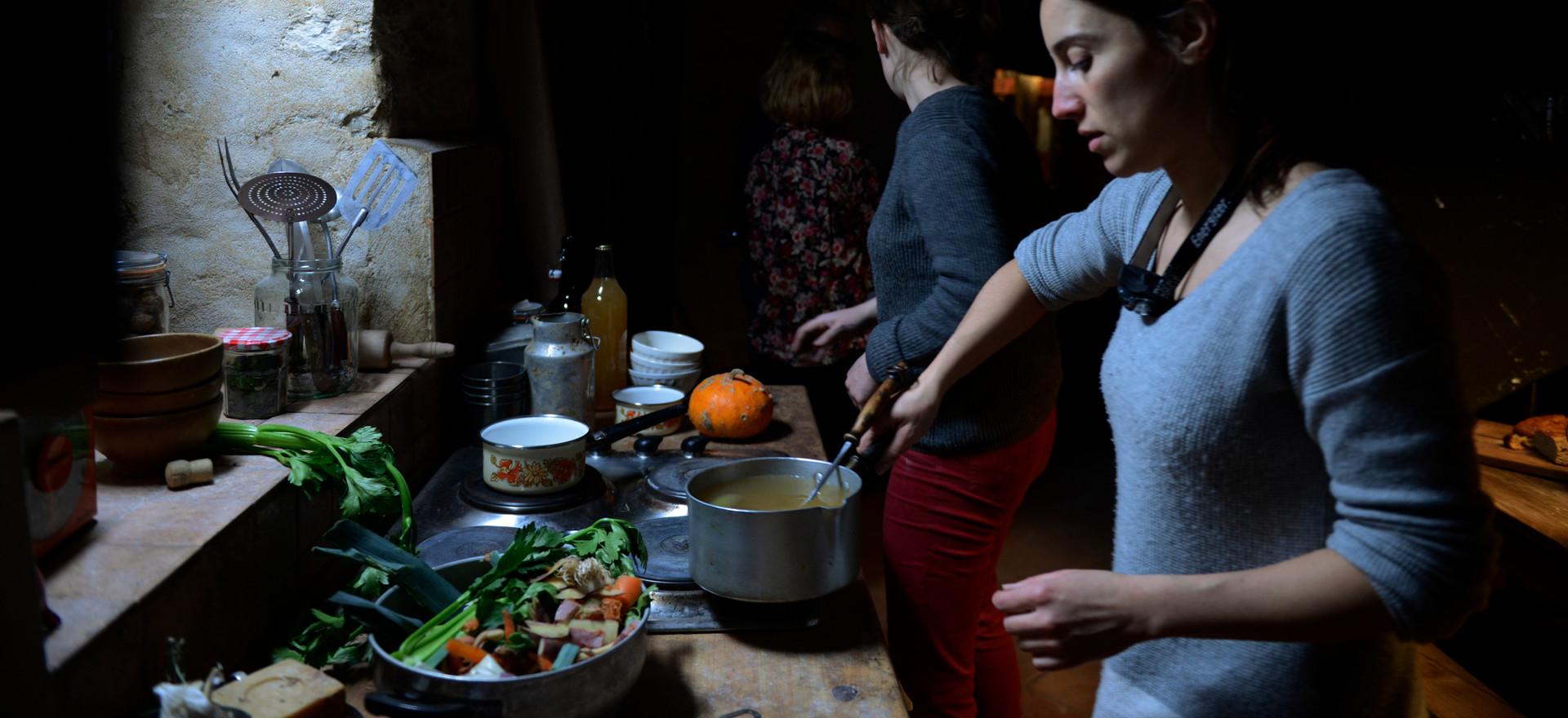Pauline, set designer, preparing the dinner scene