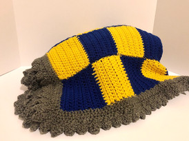 Blue and Yellow Lattice Blanket By Brandi Darby