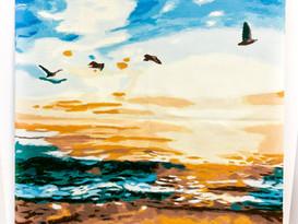 Beach View Acrylic Painting By Sarah Han