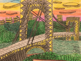 Sunset City Bright Drawing By Charlotte R
