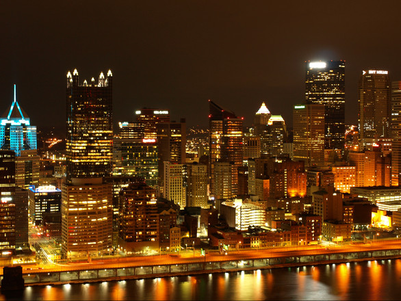 Pittsburgh Night City View Digital Prin By Aron