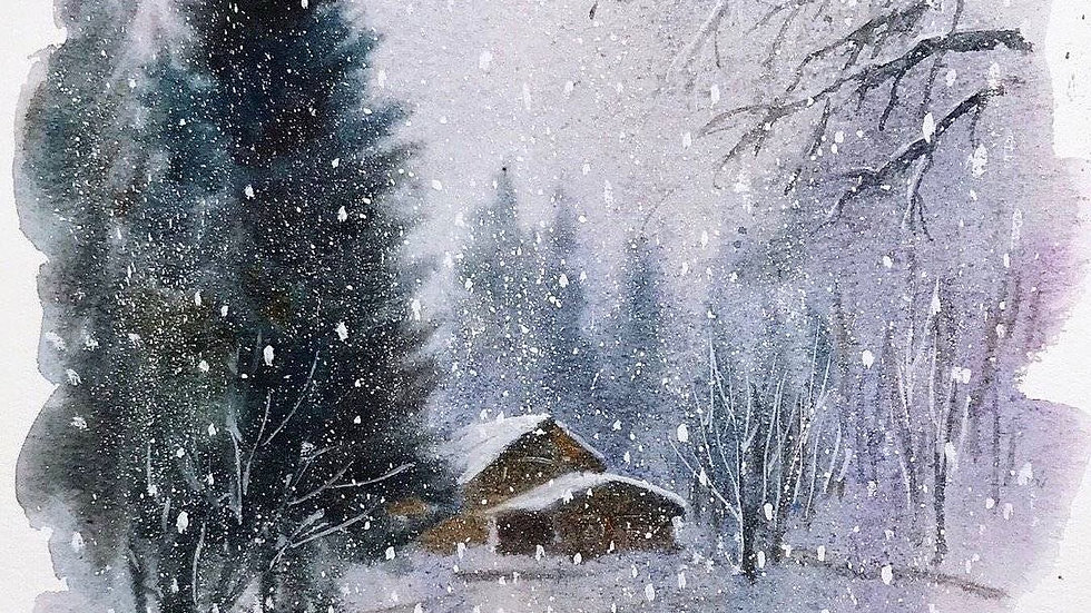 Winter watercolor painting