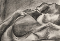 Charcoal drawing of cloth