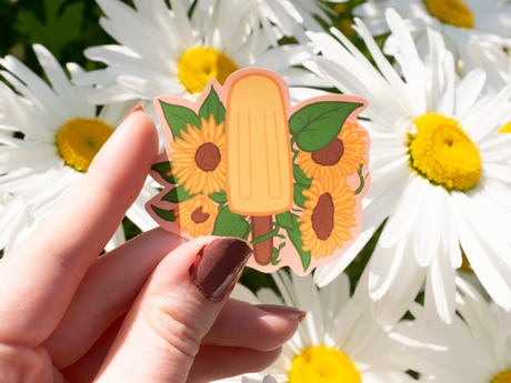 Sunflower Popsicle Vinyl Sticker