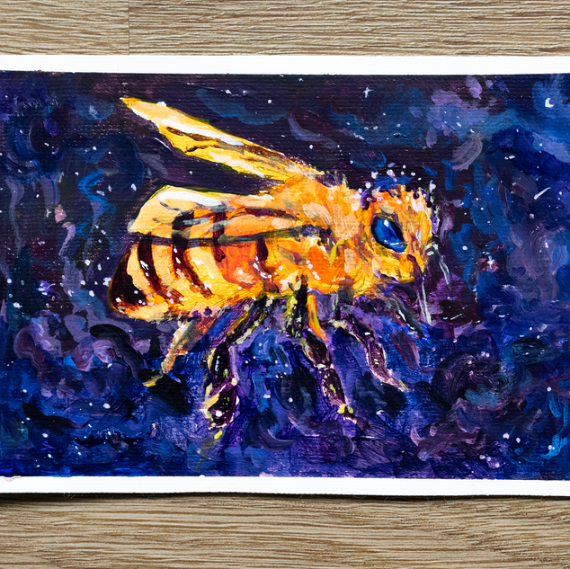 Space Bee Acrylic Painting