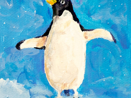 Little Penguin original acrylic painting