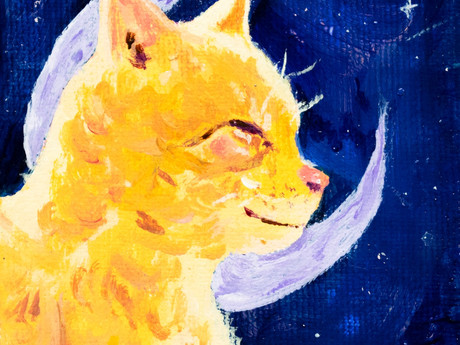 Moon kitty original acrylic painting