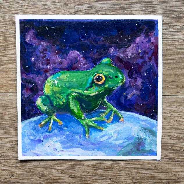 Space Frog Acrylic Painting