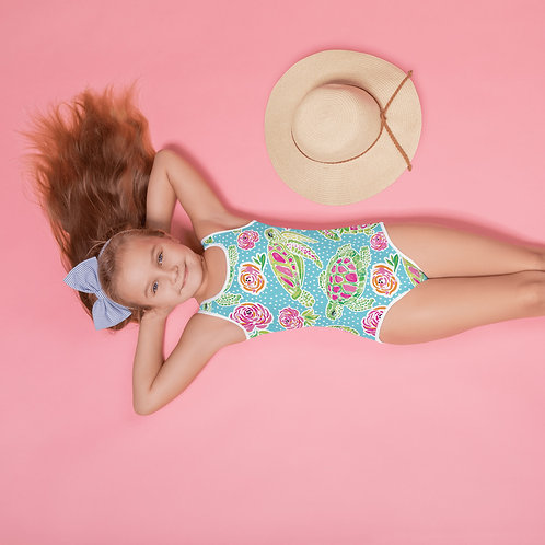 """Turtle City"" Carib Blue-All-Over Print Kids Swimsuit"