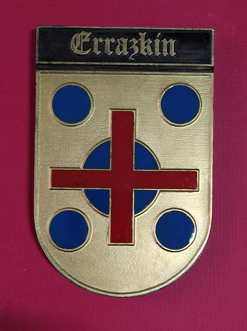 Errazkin, escudo del apellido en esmalte