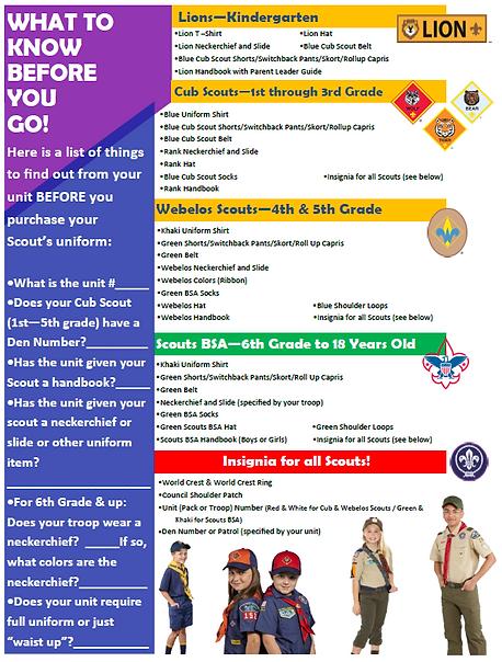 Uniform Checklist Cub Scout Scouts BSA Boy Scout