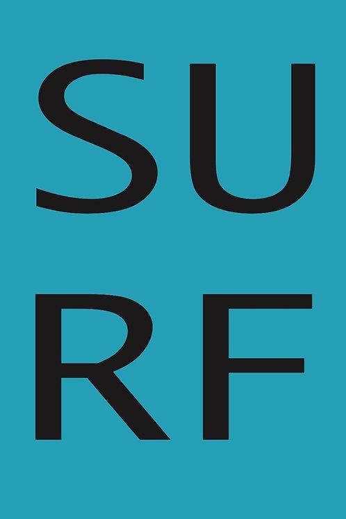 Poster Frase Surf Celeste