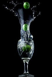 Limes Splashing in glass
