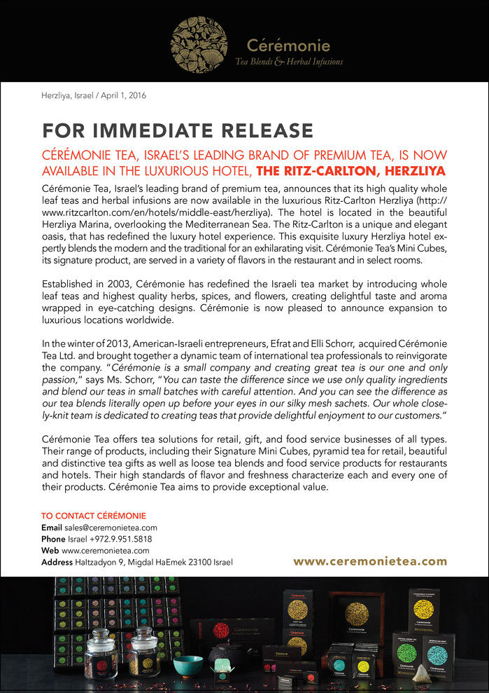 For Immediate Release:                      Putting on the Ritz!