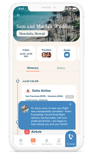 Upaway app screenshot with concierge, itinerary and travel guide.