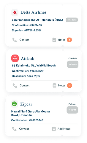 All your travel itinerary organize in one place app screenshot