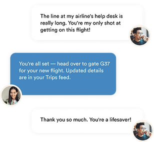 Travel concierge from Upaway helping a customer chat support