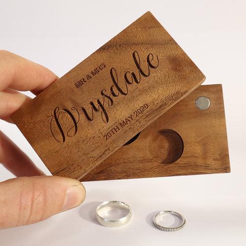 Solid Timber Sliding Wedding Ring Box