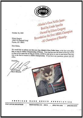 First ARBAChampion A1CH Alaska's Own Nellie Juan