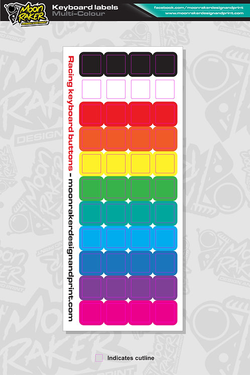 Keyboard button LABEL SHEET (Multi-Colour)