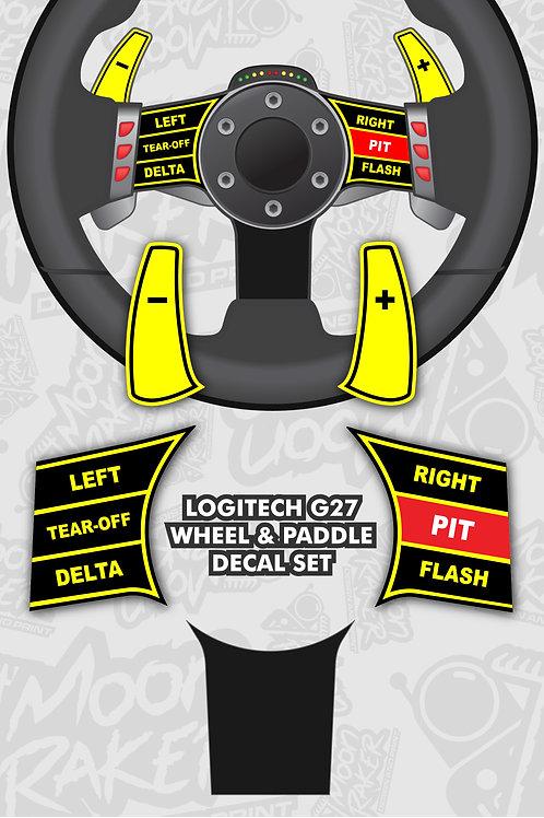 LOGITECH G27 WHEEL DECALS (Black/Yellow)