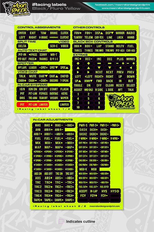 I-Racing LABEL SHEET (Black/FLURO YELLOW)