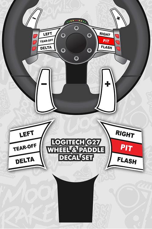 LOGITECH G27 WHEEL DECALS (White/Black)