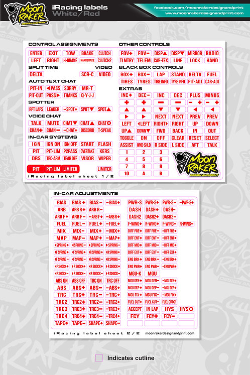 I-Racing LABEL SHEET (White/Red)