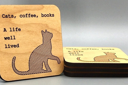 Cat Life Coaster - Set of 4
