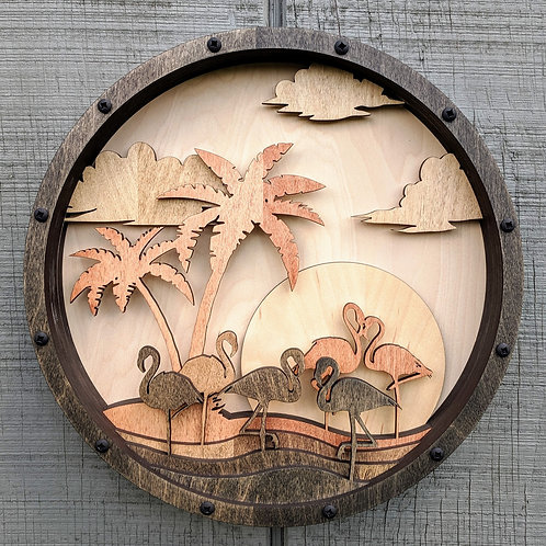 Flamingos at Sunset Silhouette Relief