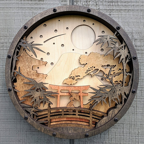 Japanese Landscape Silhouette Relief