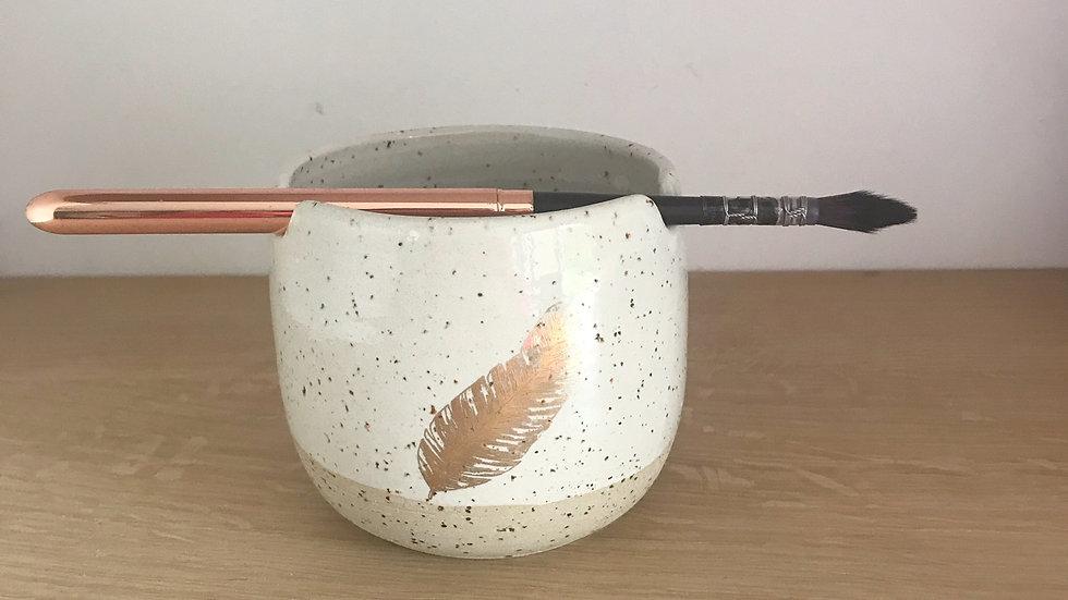 Golden Paint Brush holder Pot