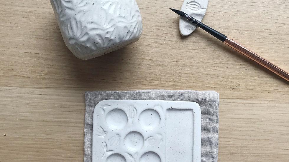Pre Order Watercolor Set -Palette, pot and brush holder