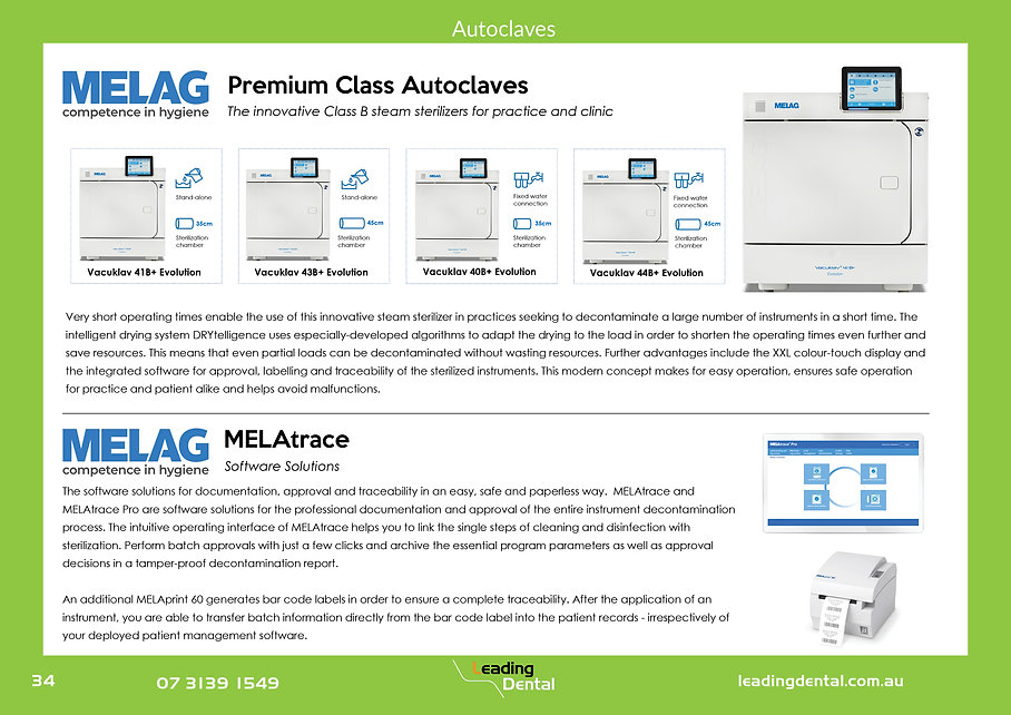 Melag Premium Class B Autoclaves. Melag Melatrace software solutions. Steam Sterlizers for dental practice and clinics