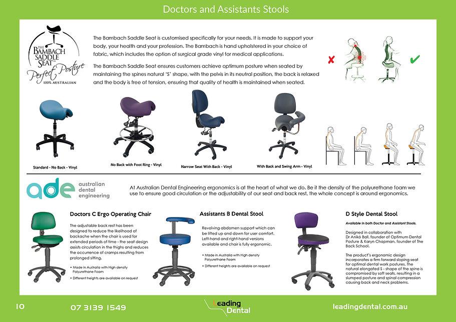 Bambach Saddle Seat Ergonomic Stools and Dental Stools