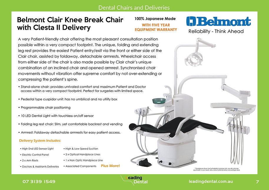 Belmont knee break Clair chair with Clesta II delivery
