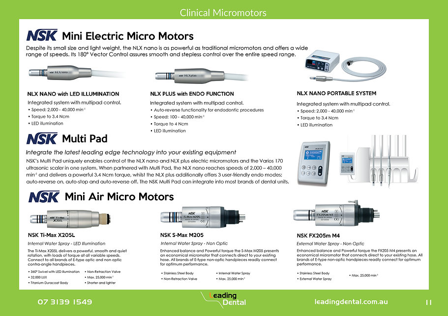 NSK electric motors with LED and endo fuction. NSK Air motors.