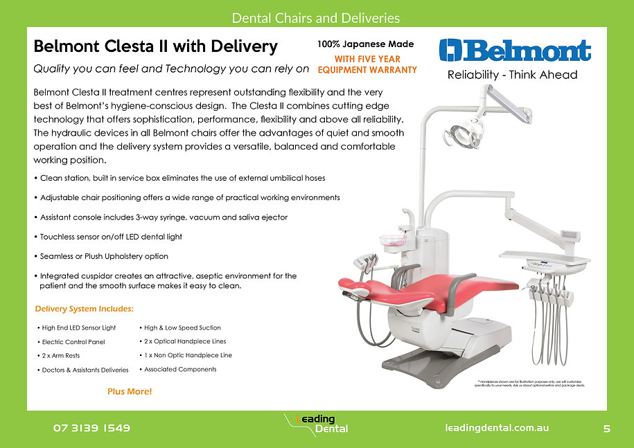 Belmont Clesta II dental chair and delivery
