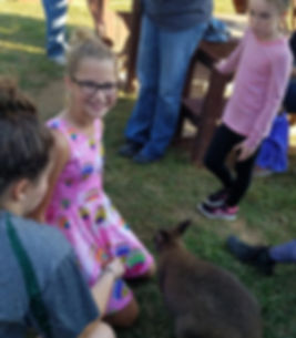 children interacting with a wallaby at a ranch in germantown maryland