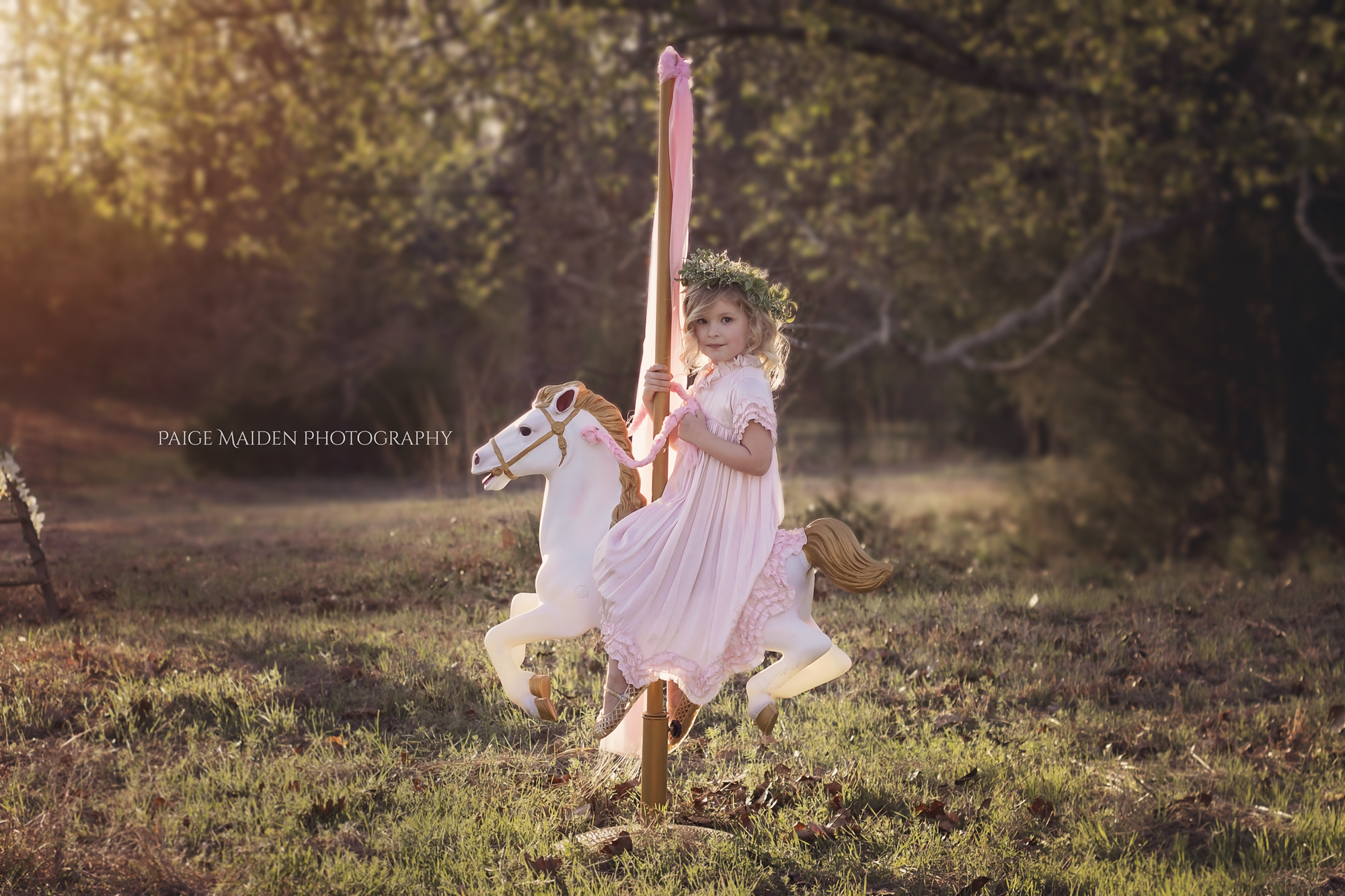 girl in pink dress on carousel horse
