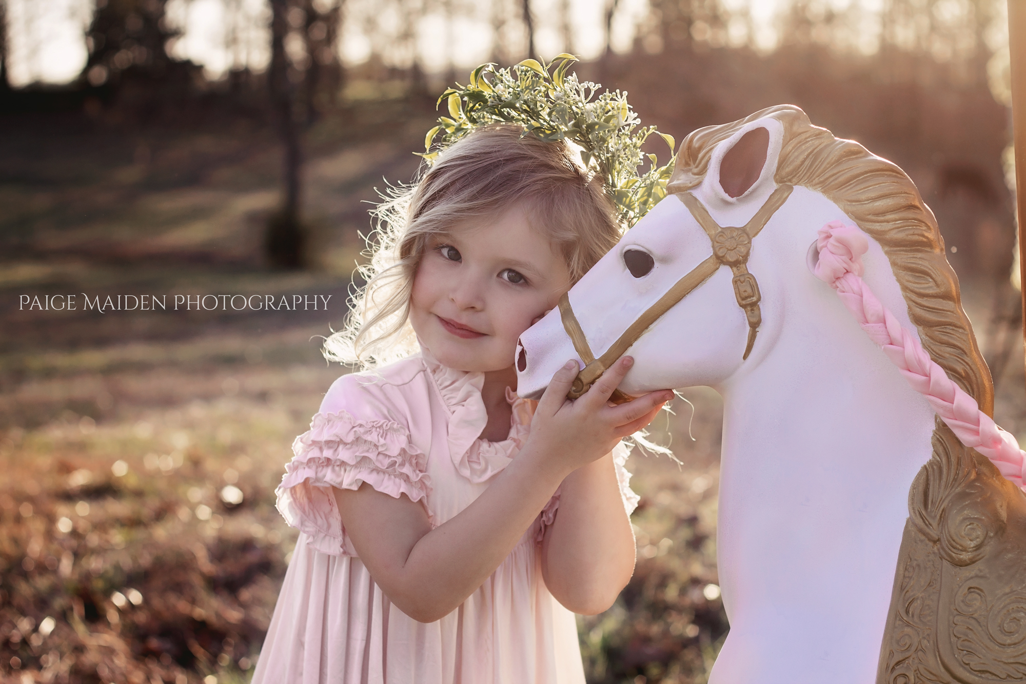 girl in pink dress with a horse
